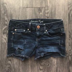 American Eagle dark wash stretch shorts